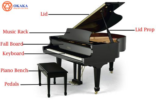 """Tiếng Anh chuyên ngành âm nhạc luôn là thách thức lớn với hầu hết những ai đang học tập trong ngành âm nhạc hay theo đuổi con đường dịch thuật. Trau dồi tiếng Anh về âm nhạc thường xuyên sẽ giúp trình ngoại ngữ của bạn về lĩnh vực này tăng vù vù đấy! Hôm nay, OKAKA Music gửi tới bạn """"Từ vựng các bộ phận đàn piano qua hình ảnh"""". Mời bạn theo dõi!"""
