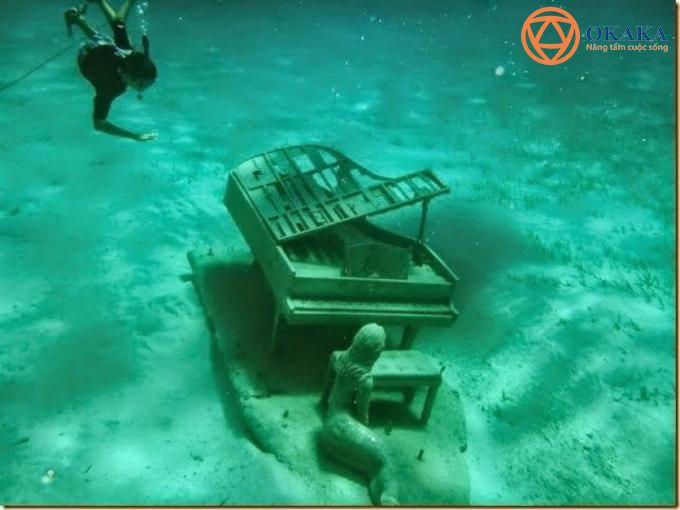 Dưới đáy đại dương mà có đàn piano ư? Hẳn bạn sẽ thốt lên đầy ngạc nhiên như thế, nhưng sự thực là có một tác phẩm điêu khắc đàn piano dưới nước tuyệt đẹp ở Bahamas.